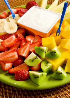 Pomegranate Yogurt Dip and Fresh Fruit