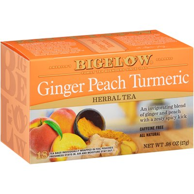 Ginger Peach Turmeric Herbal Tea - Case of 6 boxes - total of 108 teabags
